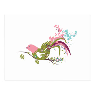 lovely olive tree bird vector postcard