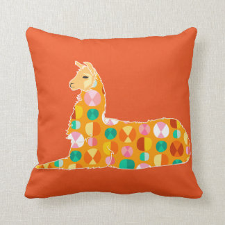 Lovely Orange Llama - Throw Pillow