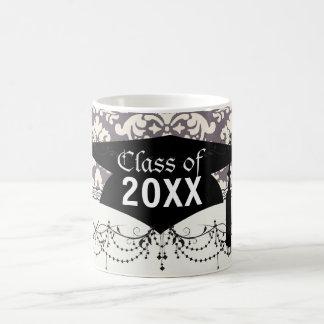 lovely ornate ivory  grey taupe damask graduation basic white mug