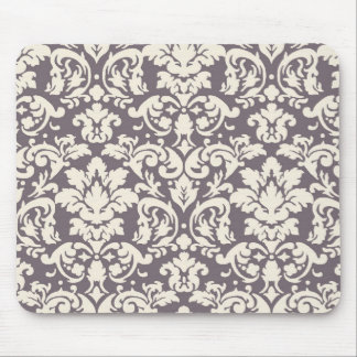 lovely ornate ivory on grey taupe damask mouse mat