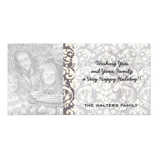 lovely ornate ivory on grey taupe damask personalized photo card