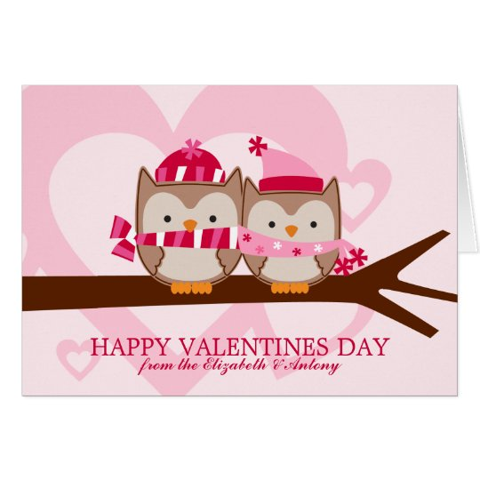 Lovely Owl Couple Valentines Day Card