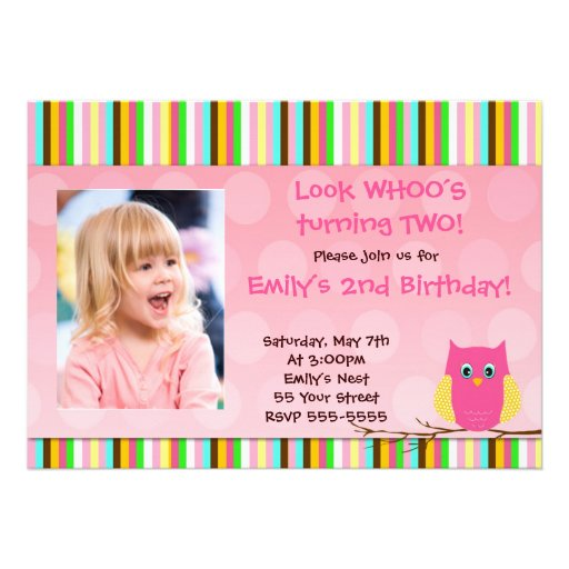 Lovely Owl Look Whos Birthday Invitation