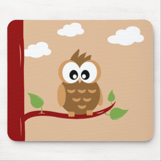 Lovely Owl with Bright Eyes Mouse Mat