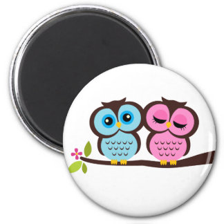 Lovely Owls 6 Cm Round Magnet
