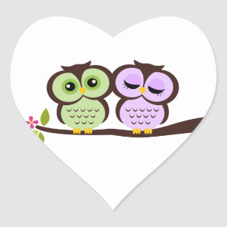 Lovely Owls Heart Sticker