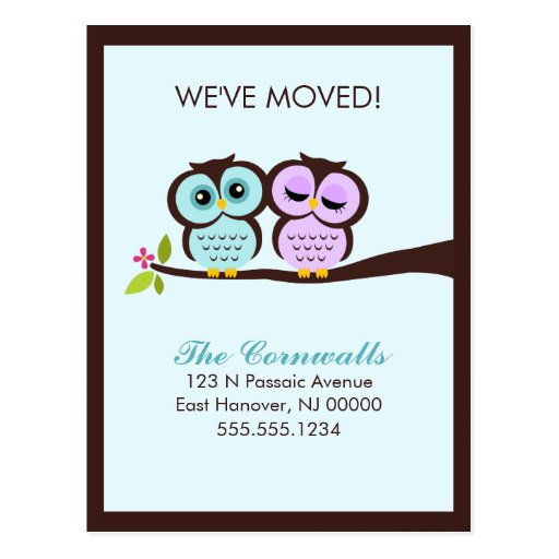 Lovely Owls Moving Announcements Postcards