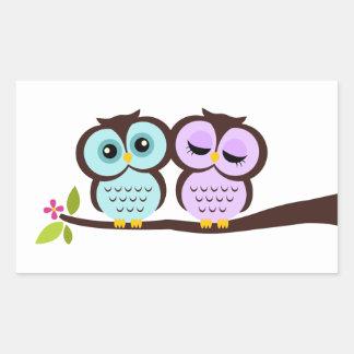 Lovely Owls Rectangular Sticker
