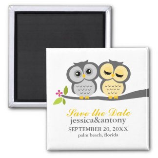Lovely Owls Save the Date Refrigerator Magnet