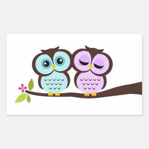 Lovely Owls Rectangular Stickers