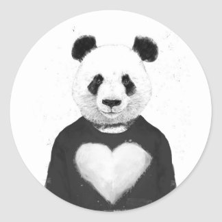 Lovely panda classic round sticker