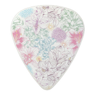 Lovely pattern with colorful flowers acetal guitar pick