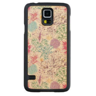 Lovely pattern with colorful flowers carved maple galaxy s5 case