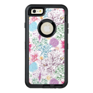Lovely pattern with colorful flowers OtterBox defender iPhone case