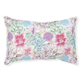 Lovely pattern with colorful flowers pet bed
