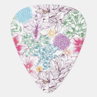 Lovely pattern with colorful flowers plectrum