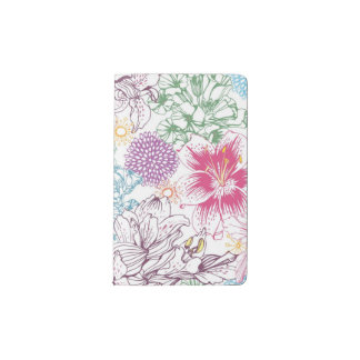 Lovely pattern with colorful flowers pocket moleskine notebook