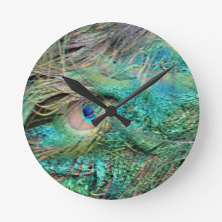 Lovely Peacock Feathers Beautiful Eyes Round Clock