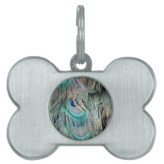 Lovely Peacock Feathers Big Blue Eyes Pet ID Tag