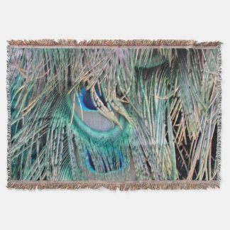 Lovely Peacock Feathers Big Blue Eyes Throw Blanket