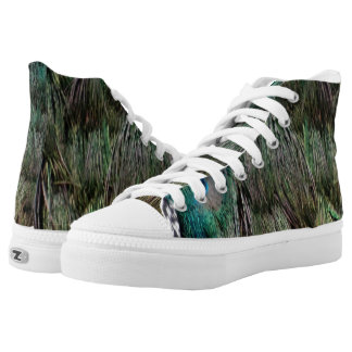 Lovely Peacock Feathers High Tops