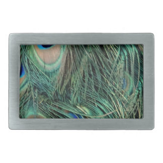 Lovely Peacock Feathers Rectangular Belt Buckles