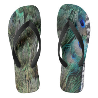 Lovely Peacock Feathers With Beautiful Eyes Flip Flops