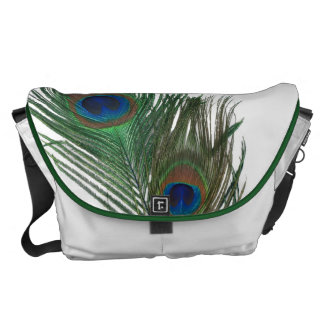 Lovely Peacock Feathers with White Messenger Bag