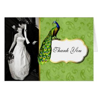 Lovely Peacock Wedding Photo Thank You Card