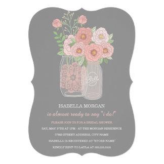 Lovely Peonies Mason Jar Bridal Shower Invitation