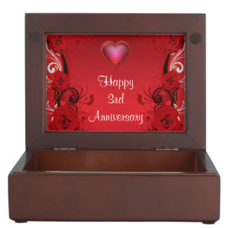 Lovely Personalized 3rd Anniversary Keepsake Box