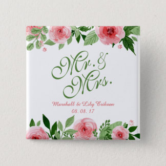 Lovely Personalized Floral Wedding Pin Button