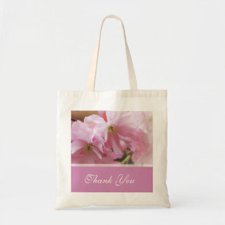 Lovely pink cherry blossom  spring wedding favor budget tote bag
