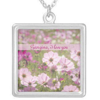 Lovely Pink Cosmos Flower Field Meadow Sunlight Necklace