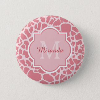 Lovely Pink Giraffe Pattern With Monogram and Name 6 Cm Round Badge