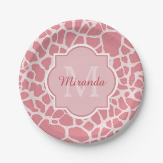 Lovely Pink Giraffe Pattern With Monogram and Name 7 Inch Paper Plate