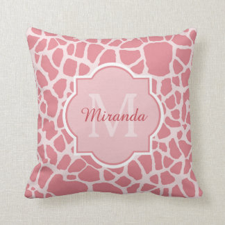 Lovely Pink Giraffe Print With Monogram and Name Cushion