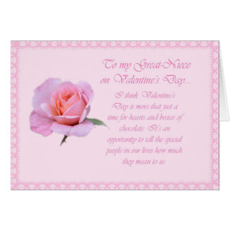 Lovely Pink Happy Valentine's Day Great-Niece Card
