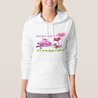 lovely pink owls, flowers, hearts Valentine, love Hoodie