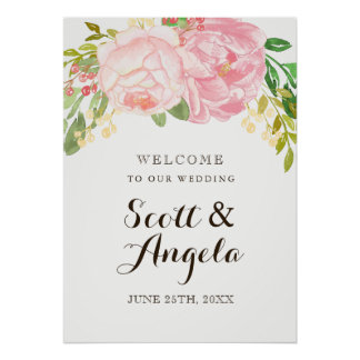 Lovely Pink Peony Welcome Sign (20x28)