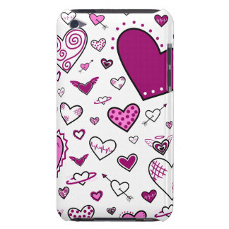 Lovely Pink & Purple Heart Doodles iPod Case-Mate Cases