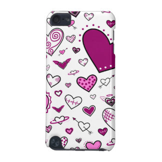 Lovely Pink & Purple Heart Doodles iPod Touch 5G Cases