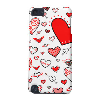 Lovely Pink & Red Heart Doodles iPod Touch 5G Covers
