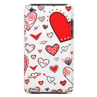 Lovely Pink & Red Heart Doodles Case-Mate iPod Touch Case