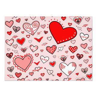 Lovely Pink & Red Heart Doodles (Pink Back) 14 Cm X 19 Cm Invitation Card