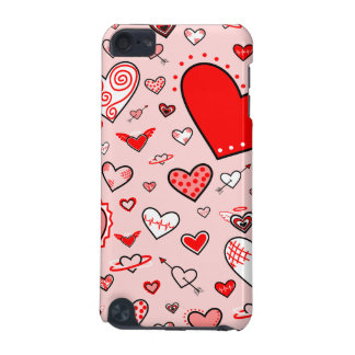 Lovely Pink & Red Heart Doodles (Pink Back) iPod Touch (5th Generation) Cases