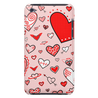 Lovely Pink & Red Heart Doodles (Pink Back) Barely There iPod Cover