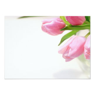 Lovely pink tulips 14 cm x 19 cm invitation card