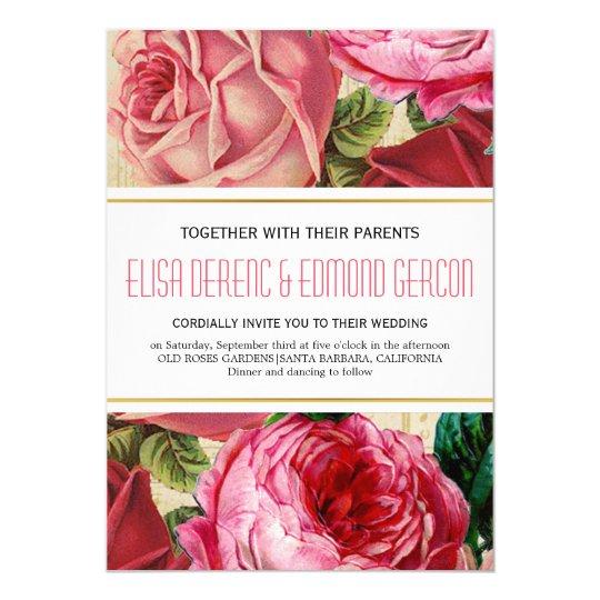 Lovely pink vintage roses floral wedding card