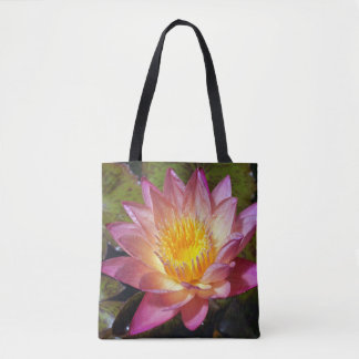 Lovely Pink Water Lily Tote Bag